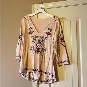 SOFT SURROUNDINGS embroidered high-low top